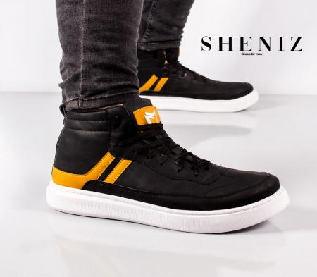 کفش ساقدار مردانه Sheniz (مشکی طلایی)
